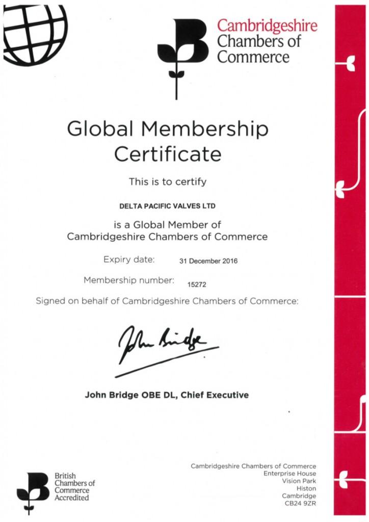 Chamber Of Commerce Certificate Delta Pacific Valves Uk