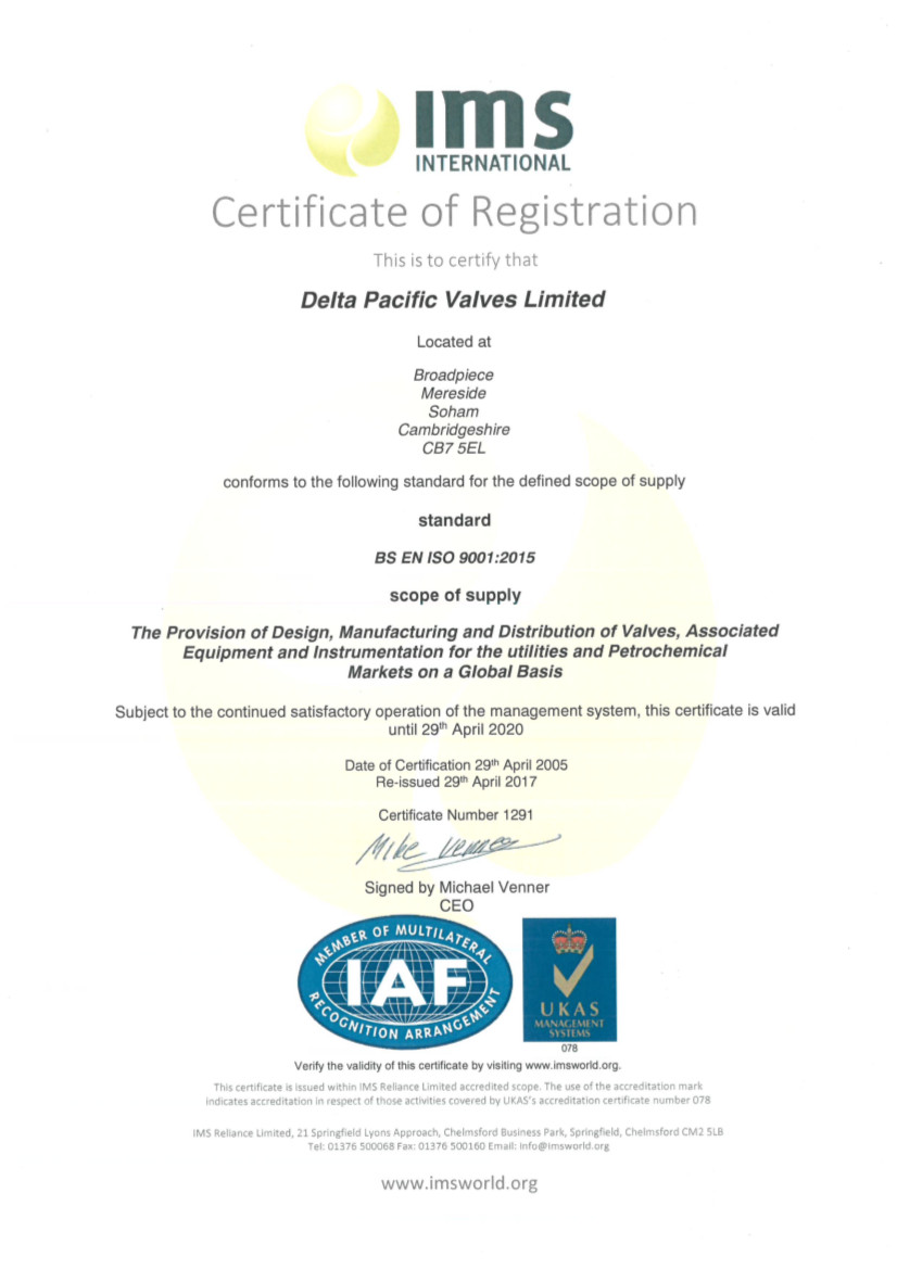 Iso 9001 Certificate 2017 Delta Pacific Valves