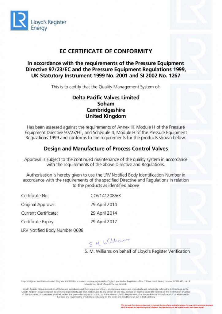 PED Certificate 1412086-3 Module H