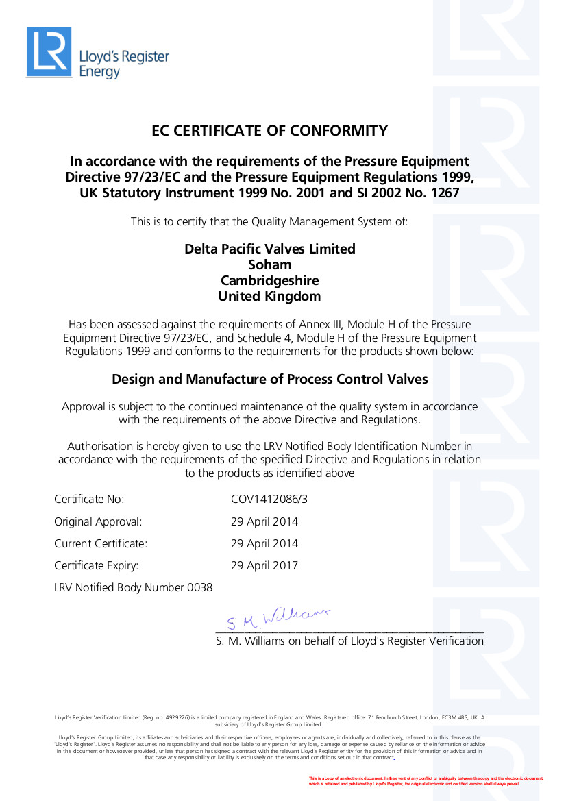 Certification - Delta Pacific Valves